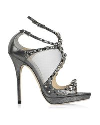 Jimmy Choo | Gray Viola Crystal-embellished Leather and Mesh Sandals | Lyst