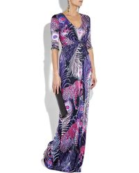 Matthew Williamson | Multicolor Printed Satin-jersey Gown | Lyst