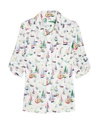 MILLY - White Elisa Sailboat-print Cotton Shirt - Lyst