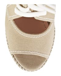 Miu Miu - Green Lace-up Canvas Wedge Sandals - Lyst