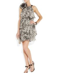 Notte by Marchesa | Black Belted Printed Cotton And Silk-blend Mini Dress | Lyst