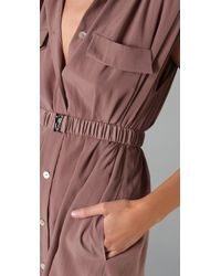 Plastic Island - Natural Louvre Belted Utility Dress - Lyst
