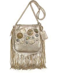 Ralph Lauren Collection - Metallic Embellished Fringed Leather Shoulder Bag - Lyst