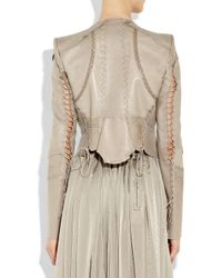 Roberto Cavalli - Natural Lace-up Patchwork Leather Jacket - Lyst