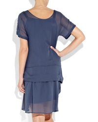 See By Chloé | Blue Pleat-detailed Chiffon Dress | Lyst