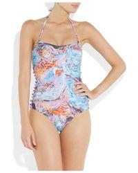 Seventh Wonderland | Multicolor Rever Marbled-print Bandeau Swimsuit | Lyst
