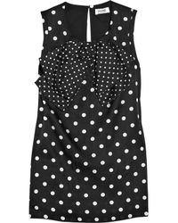Sonia by Sonia Rykiel | Black Polka-dot Cotton and Silk-blend Top | Lyst