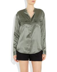 Theory | Green Melise Silk-charmeuse Blouse | Lyst
