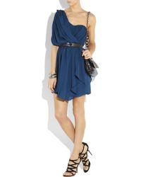 Tibi - Blue One-shoulder Draped Silk Dress - Lyst