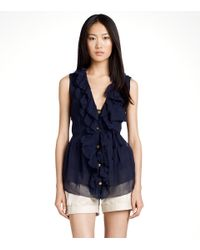 Tory Burch | Blue Elva Ruffled Silk Chiffon Blouse | Lyst
