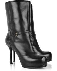 Saint Laurent | Black Leather Tribtoo 105 Platform Boots | Lyst