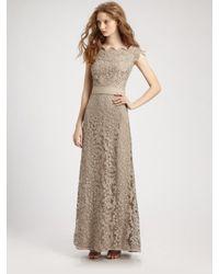 Tadashi Shoji | Natural Off-shoulder Lace Gown | Lyst