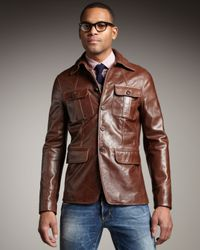 DSquared² | Brown Leather Military Jacket for Men | Lyst