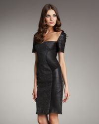 Zac Posen | Black Leather and Tweed Panel Dress | Lyst