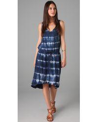 C&C California | Blue Tie Dye Stripe Dress | Lyst
