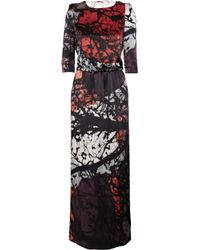 Tibi | Red Forest-print Silk Maxi Dress | Lyst