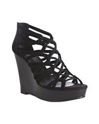 BCBGeneration | Black Jara Strappy Wedge Platform Sandals | Lyst