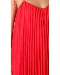 Halston - Red Pleated Chiffon Dress - Lyst