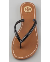 Tory Burch   Black Abitha Patent Leather Thong Sandals   Lyst