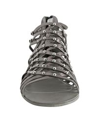 Dolce Vita - Gray Dark Silver Leather Ezra Studded Zip Back Flat Sandals - Lyst