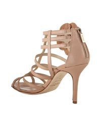 Jimmy Choo | Natural Powder Pink Leather Opaque Caged Sandals | Lyst