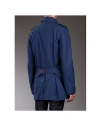 PS by Paul Smith - Dark Blue Washed Cotton Summer Pea Coat for Men - Lyst