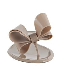 Valentino | Natural Nude Rubber Double Bow Thong Sandals | Lyst