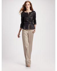 Fendi | Natural Belted Peplum Leather Jacket | Lyst