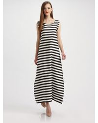 Jil Sander | Black Striped Pleat-back Maxi Dress | Lyst