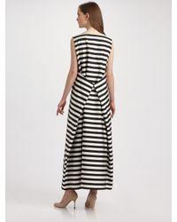 Jil Sander - Black Striped Pleat-back Maxi Dress - Lyst