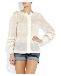Tory Burch | White Linnea Sheer Linen Top | Lyst