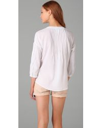 C&C California | White Beach Gauze Lace Up Blouse | Lyst