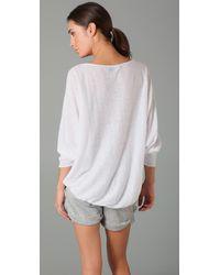 RLX Ralph Lauren - White Long Sleeve Slit Neck Top - Lyst