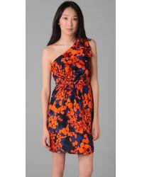 MILLY - Orange Neves Printed Silk One-shoulder Dress - Lyst