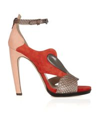 Reed Krakoff   Brown Snakeskin and Leather Sandals   Lyst