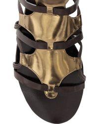 Roberto Cavalli - Metallic Patent-leather Gladiator Sandals - Lyst