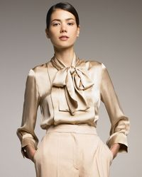 Stella McCartney | Natural Necktie Silk Blouse, Old Rose | Lyst