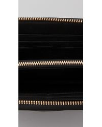 Tory Burch | Black Stacked Logo Zip Continental Wallet | Lyst