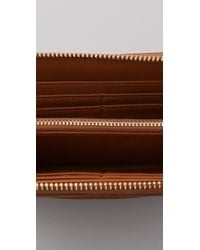 Tory Burch - Brown Stacked Logo Zip Continental Wallet - Lyst