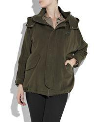 Vince - Green Wool-blend Hooded Anorak - Lyst
