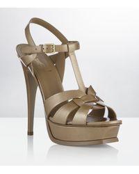 Saint Laurent   Natural Tribute Patent-leather Sandals   Lyst