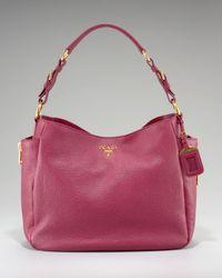 Prada | Pink Vitello Daino Pebbled Calfskin Leather Hobo | Lyst
