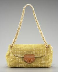 Prada | Yellow Tela Tweed Medium Shoulder Bag | Lyst