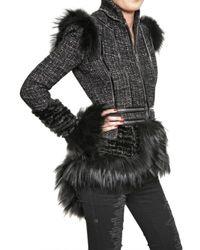 Alexander McQueen | Black Fox Fur Trim Hand Woven Tweed Jacket | Lyst
