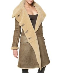 Balmain - Brown Shearling Coat - Lyst
