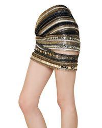 Balmain - Multicolor Embroidered Silk Chiffon Skirt - Lyst