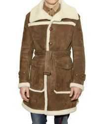 Burberry Prorsum | Brown Leather and Shearling Coat for Men | Lyst