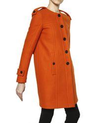 Burberry Prorsum | Orange Wool Collarless Coat | Lyst