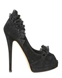 Casadei - Black 130mm Suede Lace Open Toe Pumps - Lyst