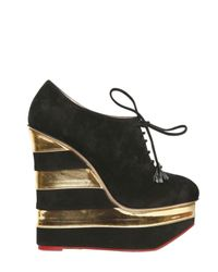 Charlotte Olympia | Black Martha in Stripes Suede and Leather Wedges | Lyst